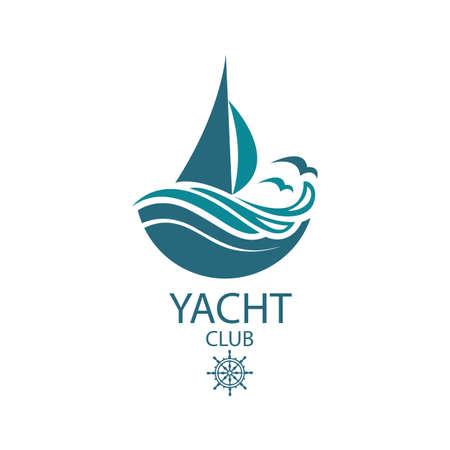 Ilustración de icon of sailing yacht and ocean waves with seagulls - Imagen libre de derechos