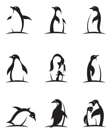 Illustration for collection of black penguin icons isolated on white background - Royalty Free Image