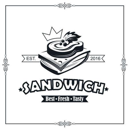 Illustration pour emblem with sandwich - image libre de droit