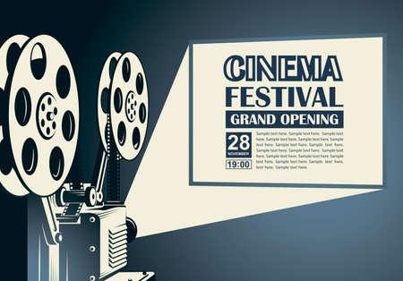 Illustration pour film projector poster - image libre de droit