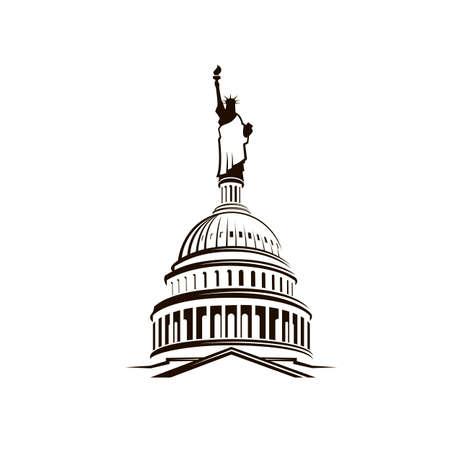 Illustration pour United States Capitol building with Statue of Liberty - image libre de droit
