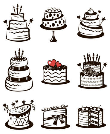 Illustration for monochrome collection of various cakes isolated on white background - Royalty Free Image
