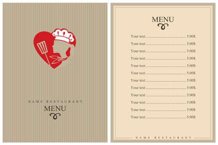 Illustration pour template restaurant menu design with lady chef and heart - image libre de droit