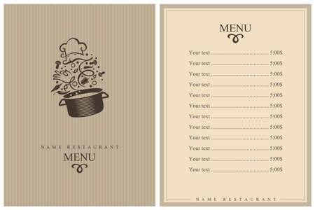 Illustration pour restaurant menu design with cooking process of vegetables on pan - image libre de droit
