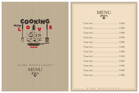 Illustration pour template restaurant menu design with cooking kitchen utensils - image libre de droit