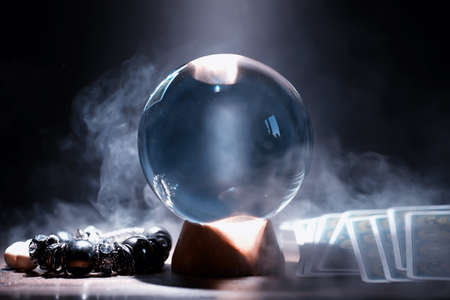 Foto de Crystal ball predict the fate. Guessing for the future. - Imagen libre de derechos