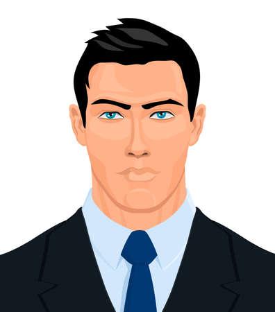 Illustration pour Portrait of strong man in black jacket, white shirt and blue tie. Vector illustration. - image libre de droit
