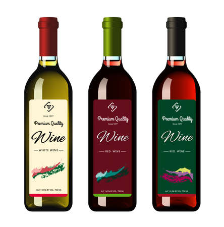 Illustration pour Wine bottles with labels, made in a realistic style on a white background. Three bottles. Vector illustration. - image libre de droit