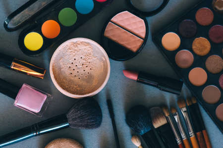 Photo for set of professional cosmetics, tools for make-up and care of womens skin. Beauty products. - Royalty Free Image