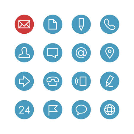 Illustration for Contacts vector icon set - different symbols on the round blue background. - Royalty Free Image