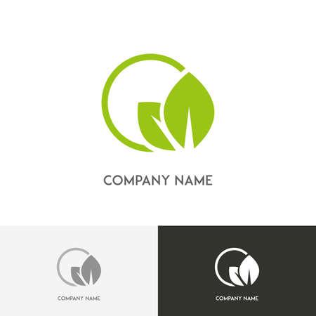 Ilustración de Nature logo - fresh green leaves in the round on the white background - Imagen libre de derechos