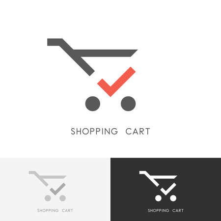 Shopping cart - trolley with red check mark or tick symbol. Store, shop, buying and purchase icon.