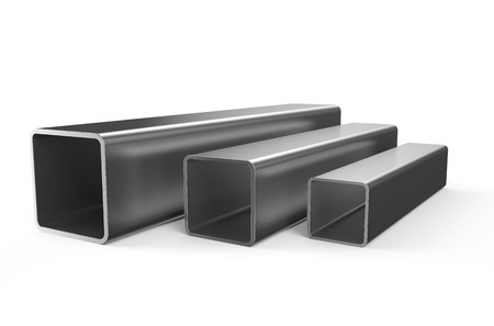 rolled metal, square pipes isolated on white background