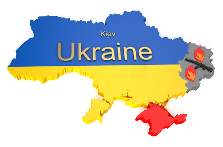 War in Ukraine concept isolated on white background