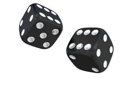 two black dice  isolated on white background