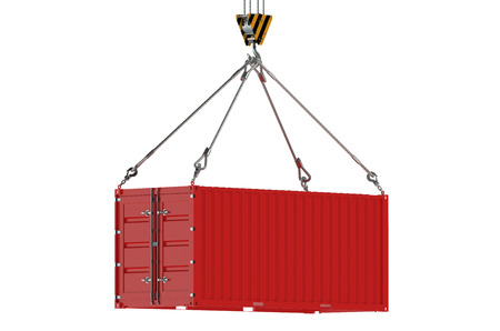 Crane hook and red cargo container  isolated on white background