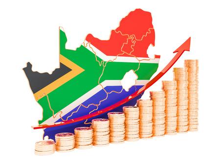 Foto de Economic growth in South Africa concept, 3D rendering isolated on white background - Imagen libre de derechos