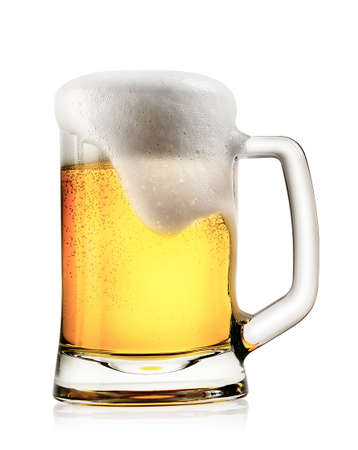 Mug of light beer with foam isolated on white background
