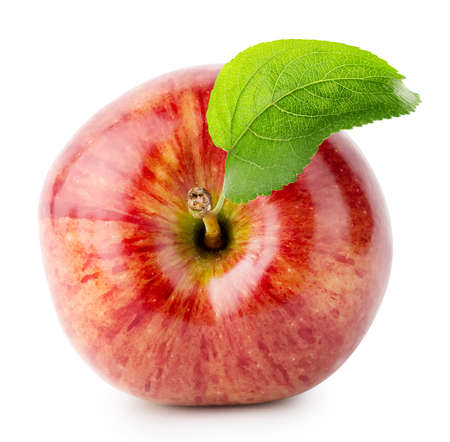 Shot from above red apple with green leaf isolated on white background