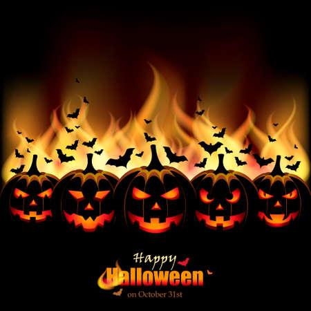 Illustration pour Jack O Lanterns in front of Flames - image libre de droit