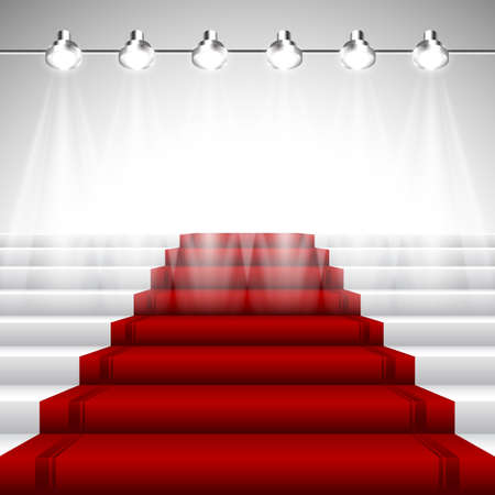 Illustration pour Illuminated Red Carpet under Spotlights over White Stairway with Perspective View - image libre de droit