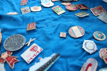 Set of different Soviet badges about olympiad in Moscow 1980
