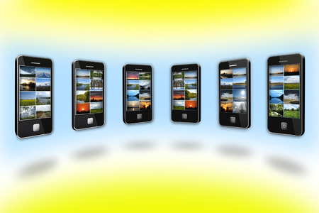 modern mobile phones with different colored images