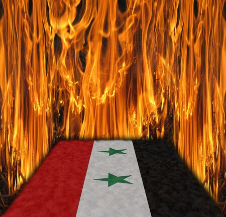 flag of Syria in fire. Syria is in a war