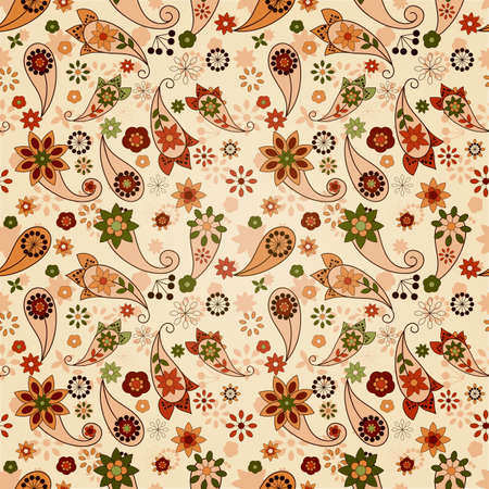 vector seamless spring  pattern with paisley elements and flowers