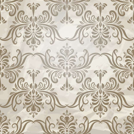vector seamless vintage wallpaper pattern on crumpled paper texture