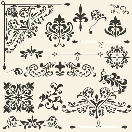 vintage floral  design elements on gradient background, fully editable file
