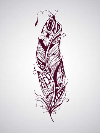 Vector highly detailed hand drawn tattoo feather