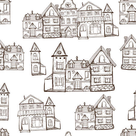 Illustration for Vector Seamless Coloring Page  Pattern with old houses. Medival village background - Royalty Free Image