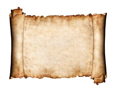 Foto de Manuscript, unfolded piece of parchment antique paper grungy texture background - Imagen libre de derechos