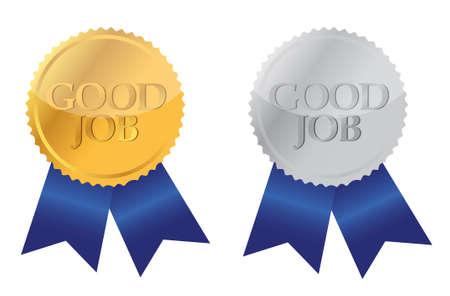 Illustration pour good job ribbon seals over white - image libre de droit