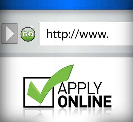 Illustration pour browser window shows the words Apply Online illustration design - image libre de droit