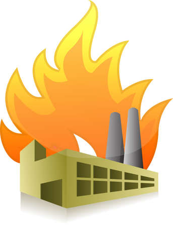 Factory on fire illustration design over a white background