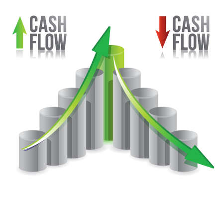 cash flow illustration graph over a white background