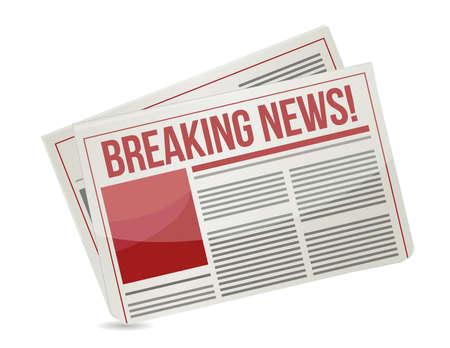 newspaper headline reading breaking news illustration
