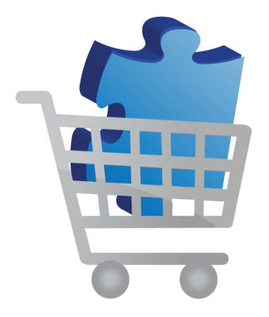Shopping cart with a puzzle piece design illustration