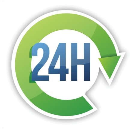 Illustration pour cycle 24 hour service illustration design over white - image libre de droit