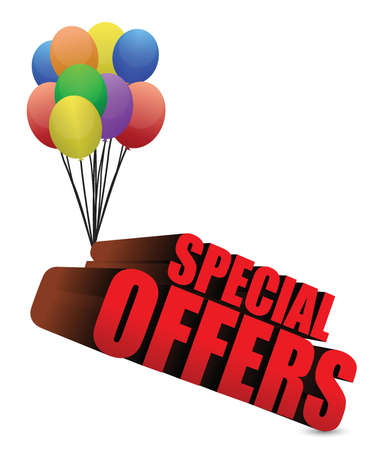 special offers 3d sign with colorful balloons illustration