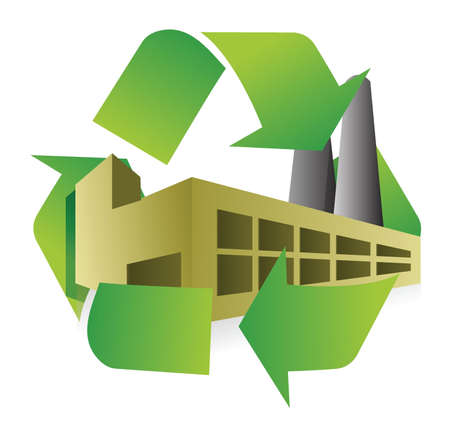 recycle factory illustration design over white background