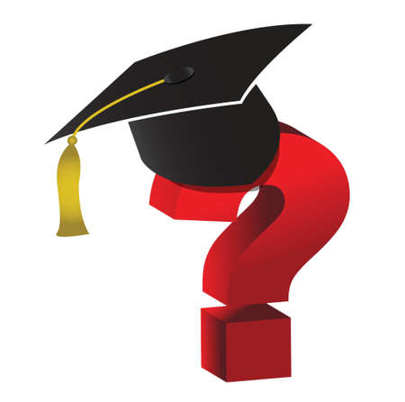 education unknown question mark illustration design over white
