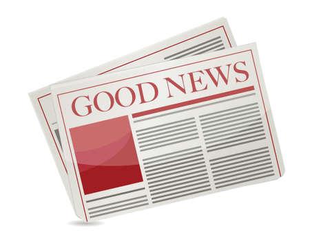 good news newspaper illustration design over white background