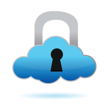 cloud with lock illustration design over white background