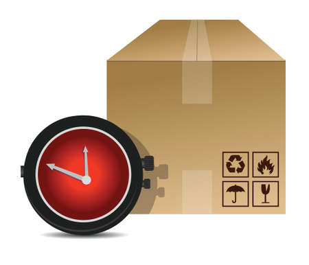 watch and box shipping illustration design over a white background
