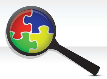 puzzle pieces under magnifier illustration over white