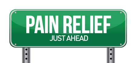 road traffic sign with a pain relief concept illustration design