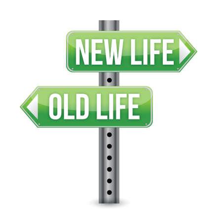 Ilustración de New or old life sign illustration design over white - Imagen libre de derechos